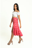 High waisted red animal print asymmetrical wrap skirt