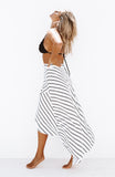White and Black Striped Wrap Maxi Skirt with Split
