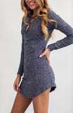 Grey Heather Knit Bodycon Mini Dress with Laceup Front Detail, Long Sleeves and Curved Hem