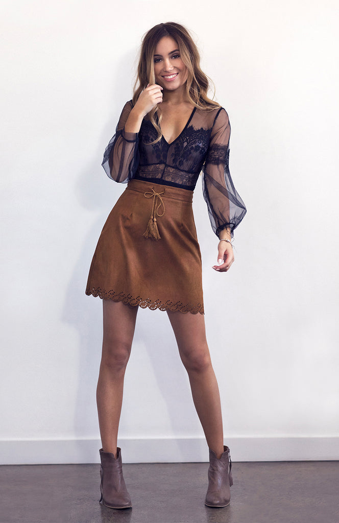 Brown A-Line Suede High Waisted Mini Skirt with Lasercut Scalloped Hem and Tassels
