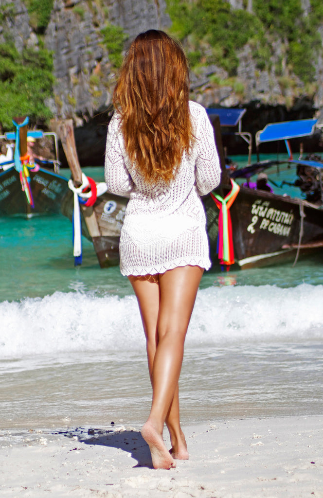 White crochet coverup with scallop hem and long sleeves