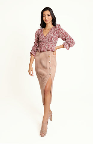 Beige High Waisted Golden Promise Bodycon Skirt, with Ribbed Knit, Elasticated Waist, Side Split and Pearlescent Buttons.