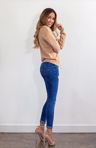 Biege Cream Cinnamon Lace Up Knit Loose Fit Pull Over Jumper