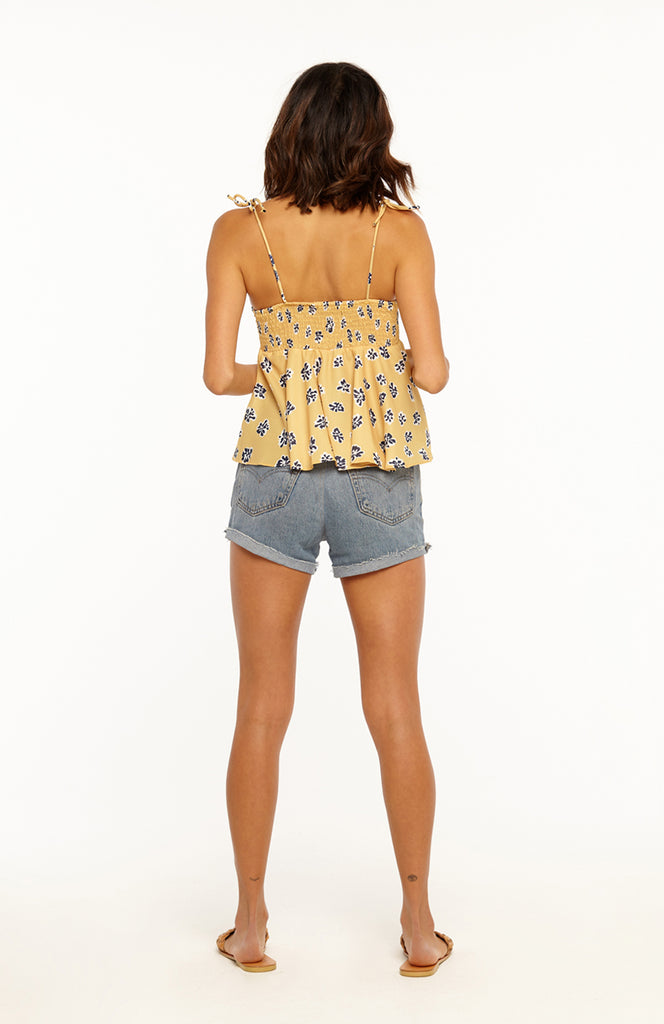 Yellow Floral Print Top with a Bow Tie Detail, Self Tie Adjustable Spaghetti Straps and Flared Empire Waist