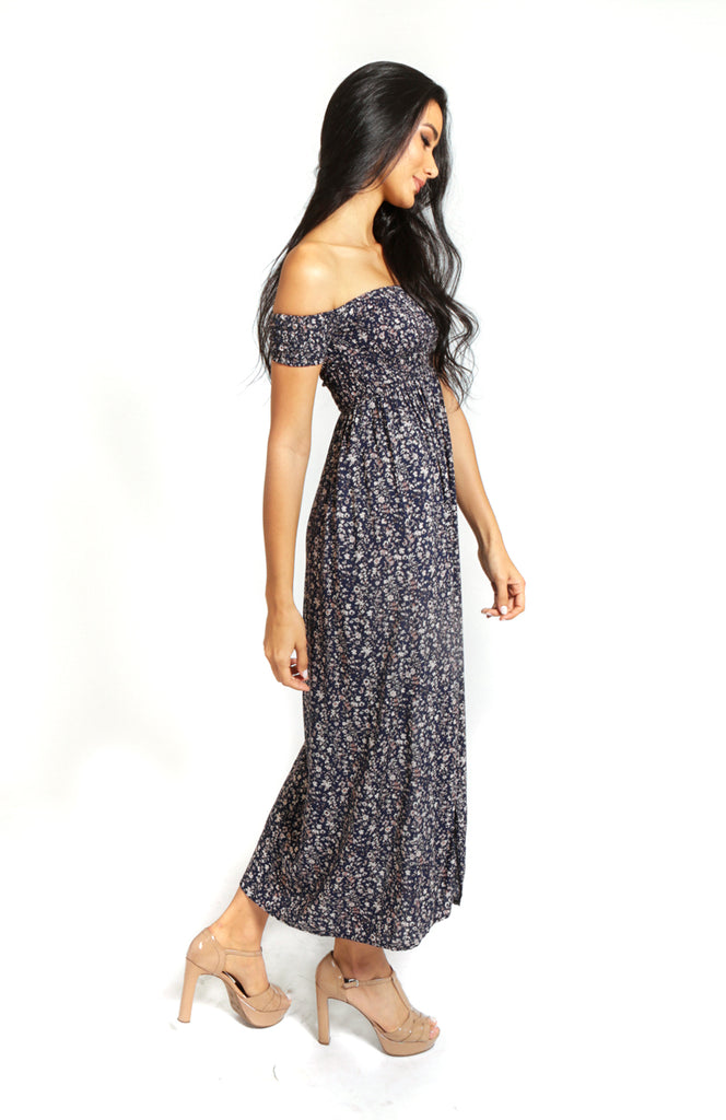 Blue Floral Printed Off the Shoulder Maxi Dress with a Rouched Bodice and Side Splits