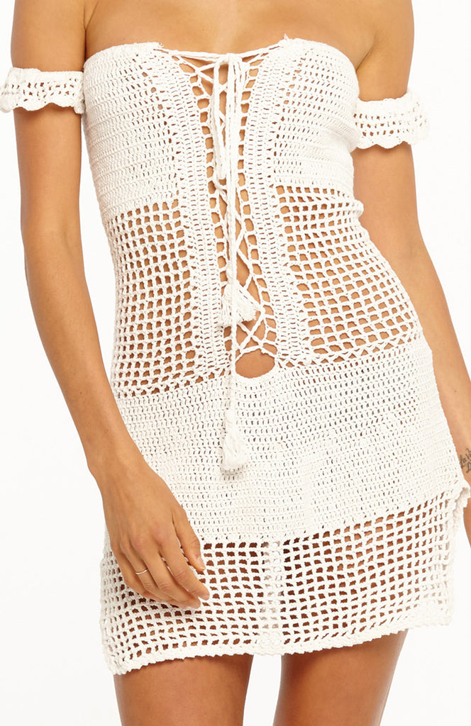 White Off the Shoulder Crochet Beach Mini Dress with Lace up Front and Short Sleeves