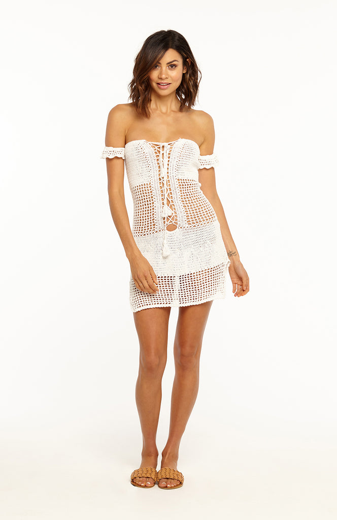 1b9671ed3431 ... White Off the Shoulder Crochet Beach Mini Dress with Lace up Front and  Short Sleeves ...