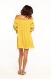 Yellow Off the Shoulder Loose Mini Dress with Long Sleeves and Embroidery Details