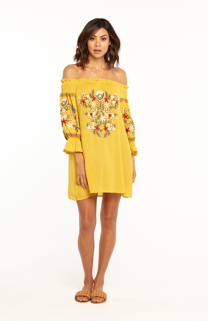 f879543925c6 ... Yellow Off the Shoulder Loose Mini Dress with Long Sleeves and  Embroidery Details ...