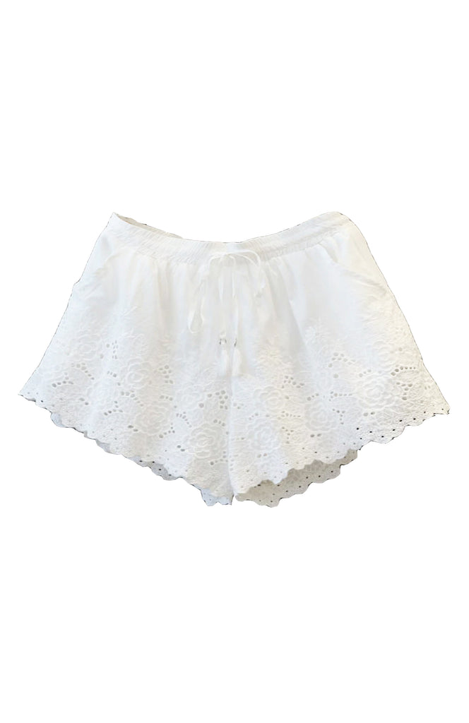 Eloise Embroidered Shorts White