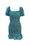 Teal green floral print touched body con dress with sleeves and ruffles