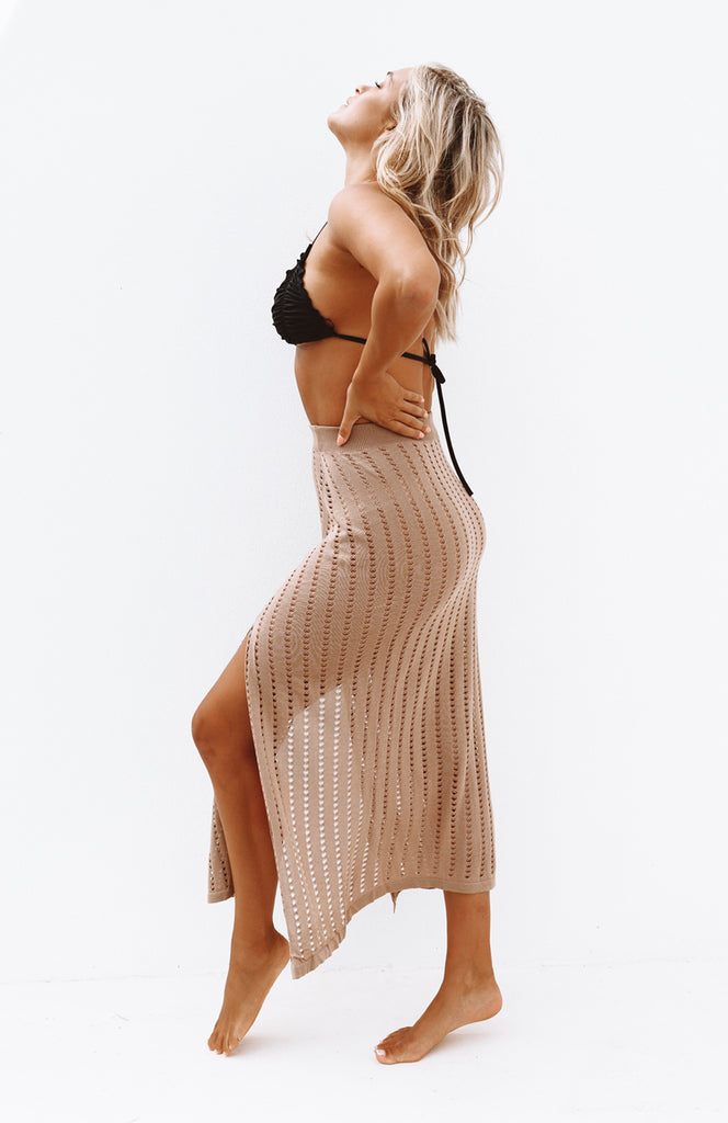 High Waisted Open Knit Caramel Skirt with Two Front Leg Slits