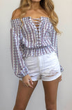 Off the Shoulder Floral Printed Summer Long Sleeved Top with Front Lace Up Details