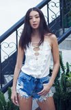 White Crochet Lace Singlet Top with Lace Up Detailing and Deep V Neckline