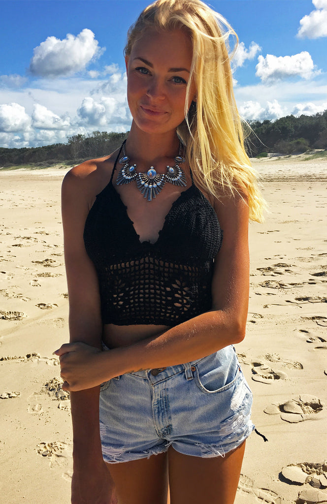 Black Halter Crochet Crop Top