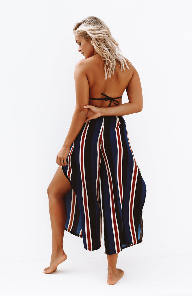 High Waisted Printed Stripe Pants with High Leg Slits, Invisible Zip and Waist Tie