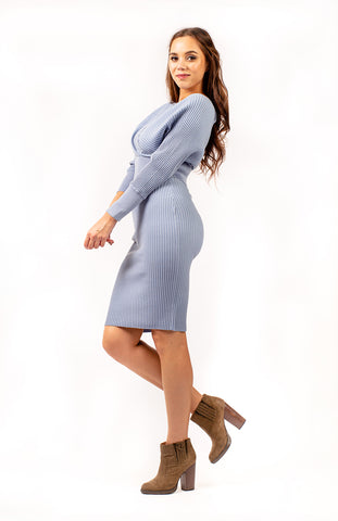 Jasmund Knitted Two Piece Dress Blue
