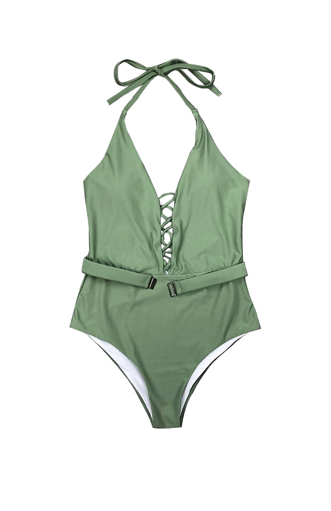 Khaki Halter  One Piece Swimsuit with Belt and Lace-Up Front