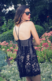 Black and Nude Eyelash Lace Romper with Laceup detail at the back