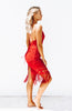 Red Lace Bodycon Midi Dress with low neckline, criss cross back and hem tassels.