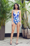 Blue, White and Pink Tropical Printed One Piece Swimsuit with Lace Up Sides