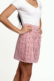Pink High Waisted Embroidered A-line Lace Skirt with Elasticated Waist