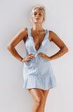 Lightweight Blue and White Striped Mini Dress with Deep Plunge Halter, Ruffled Neckline, Flared Skirt and Invisible Zip