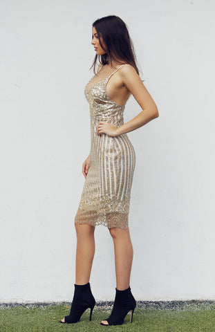 Gold Glittery Midi Dress with V neck, thin straps and scalloped hem