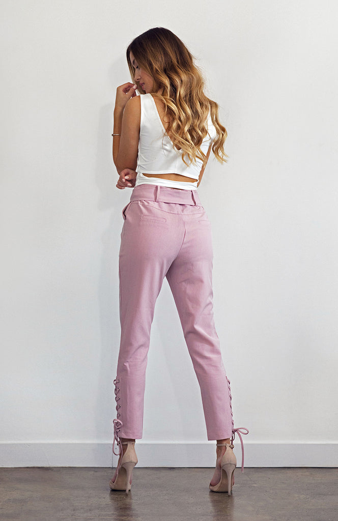 Pink High Waisted Cigarette Leg Slim Pants with Side Lace-Up Detail and Waistband TiePink High Waisted Cigarette Leg Slim Pants with Side Lace-Up Detail and Waistband Tie