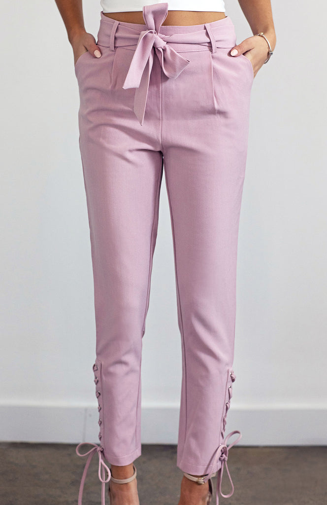 Pink High Waisted Cigarette Leg Slim Pants with Side Lace-Up Detail and Waistband Tie