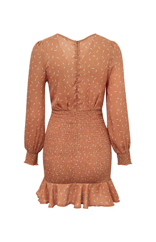 Party Time Rouched Dress Rust