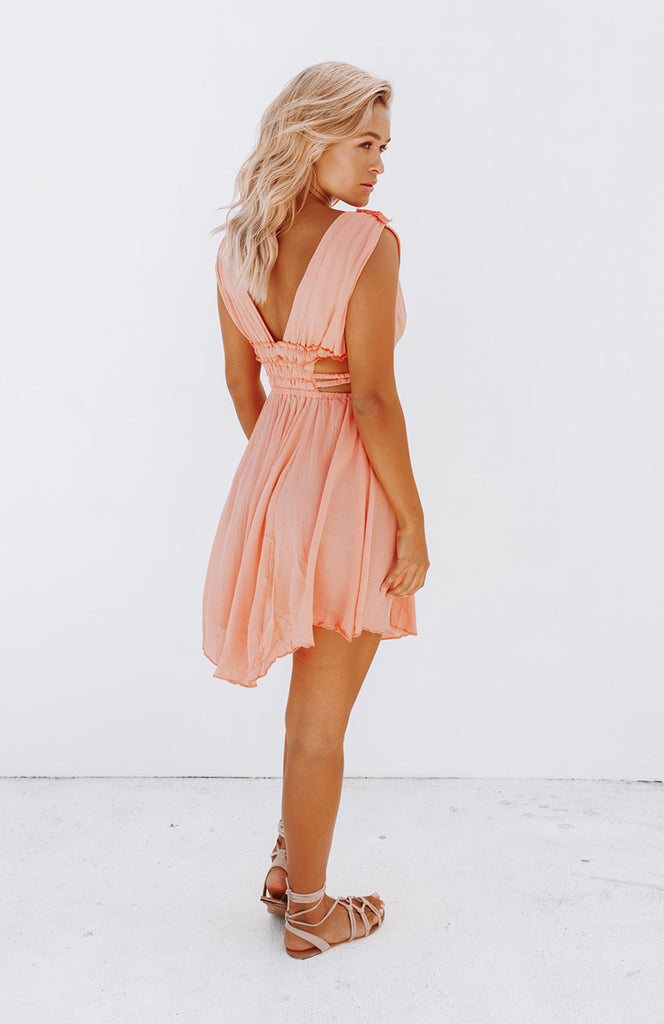 Pink Lightweight Halter Plunge Mini Dress with Ruched Under bust, Elasticated Waist and Cheeky Side Cut-out Details