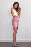 High Waisted Pink Suede Mini Skirt with Front Lace-up detail
