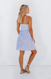 Blue Striped Lightweight Cotton Summer Dress with a sweet bow neckline, cheeky underbust cut out and a full, buttoned-up A-line midi skirt