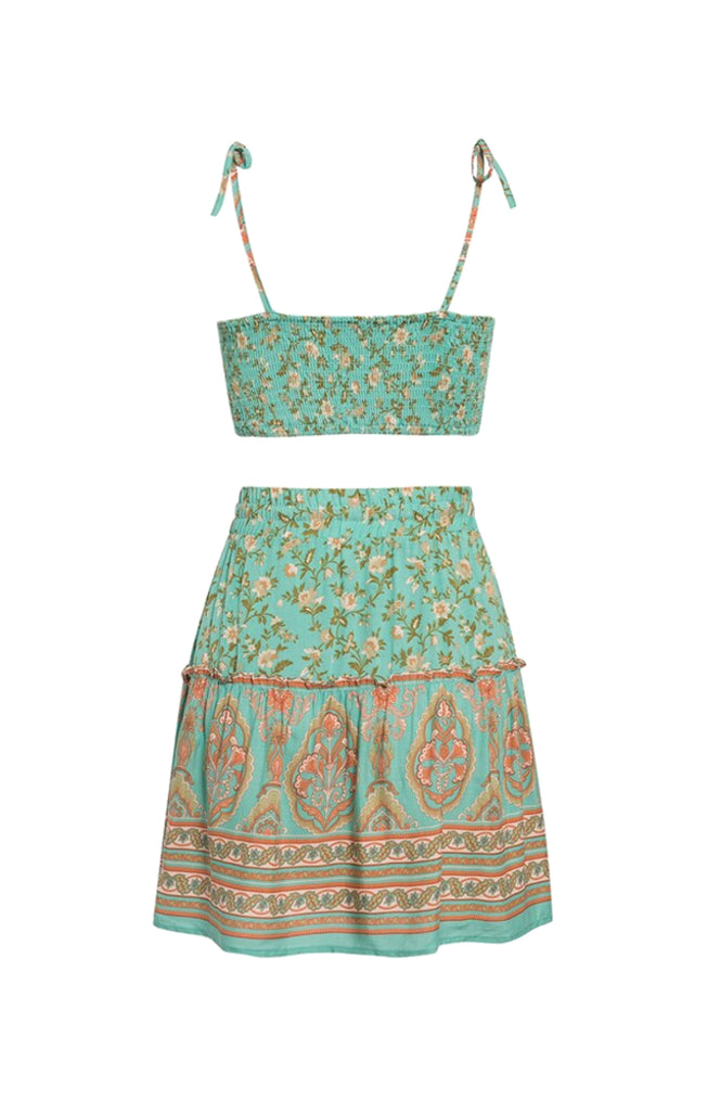 Teal and orange floral bohemian two piece set with crop top and full skirt
