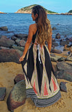 Printed Maxi Dress with Two Front Slits and Rope Details Tied at the Halter Neck and Back Waist