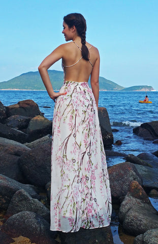 Maxi Floral Printed Dress with Cross Over Thin Straps and Open Back