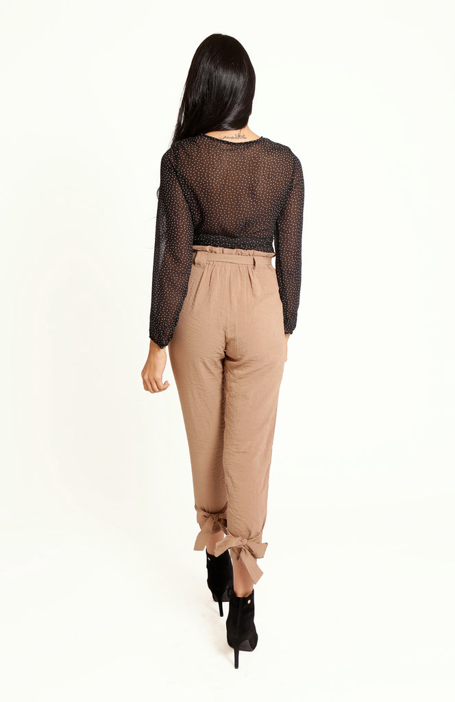 Highball High Waisted Khaki Cigarette Pants, with a pleated elastic waist, large self-tie belt, hidden front zip and sash bows at the back of the ankles.
