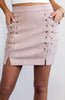 High Waisted Beige Suede mini skirt with lace up sides and slit
