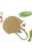 Large round rattan straw woven tan beach shoulder bag
