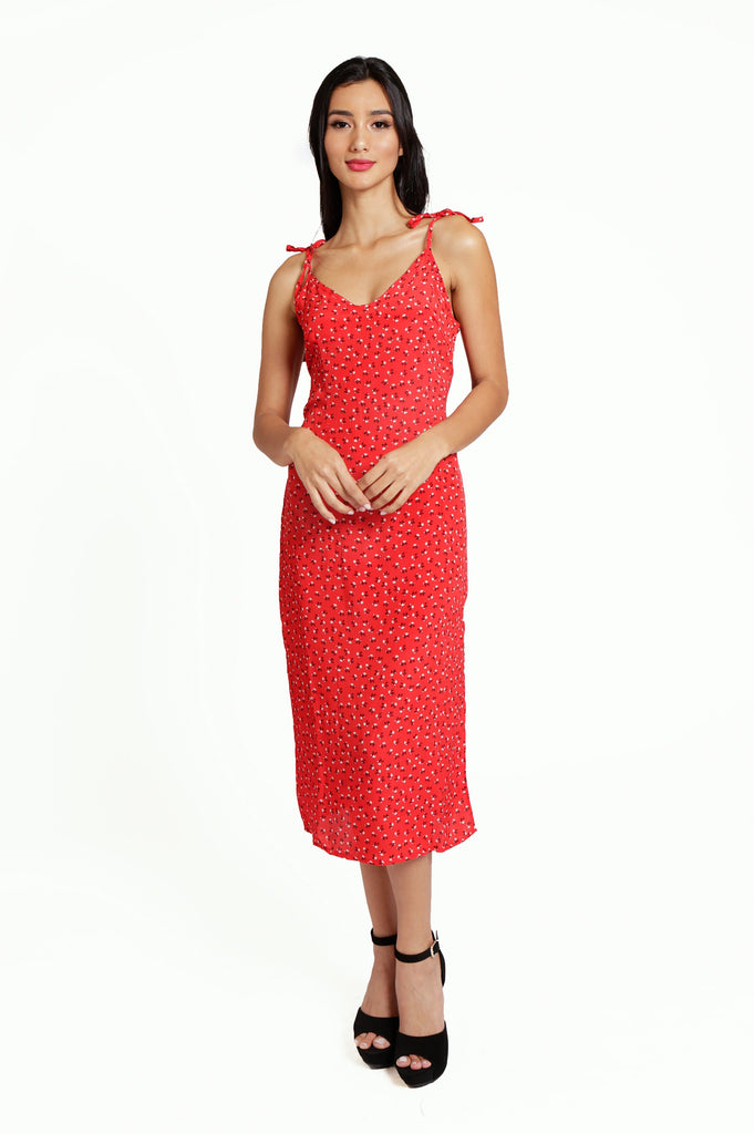 Floral Red Slip Midi Dress with Spaghetti Straps and Side Slit