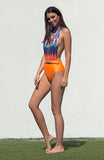 Plunging Backless Bright Orange and Graphic Printed Halter Neck One Piece Swimsuit with Braided Belt