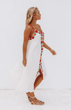 White Loose Fitting Maxi Dress with Colorful Floral Embroidery Detail
