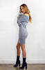 Light Grey Off the Shoulder Fitted Knit Dress with Long Sleeves