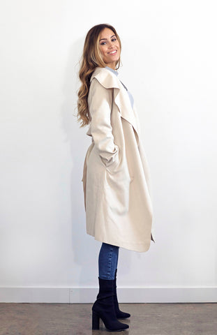 Thick Soft Long Biege Jacket with Draped Waterfall Collar and Waist Tie