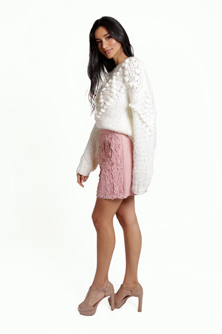Long Sleeved Oversized White Pom Pom Jumper with Criss Cross Pattern and Open Knit