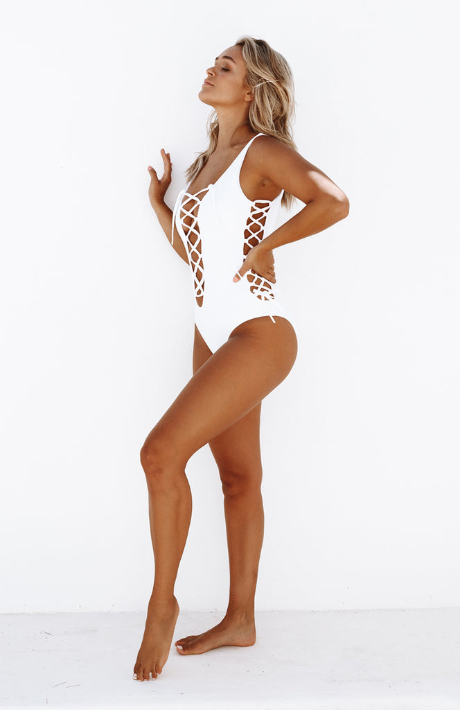 White Front and Side Lace Up One Piece Swimsuit