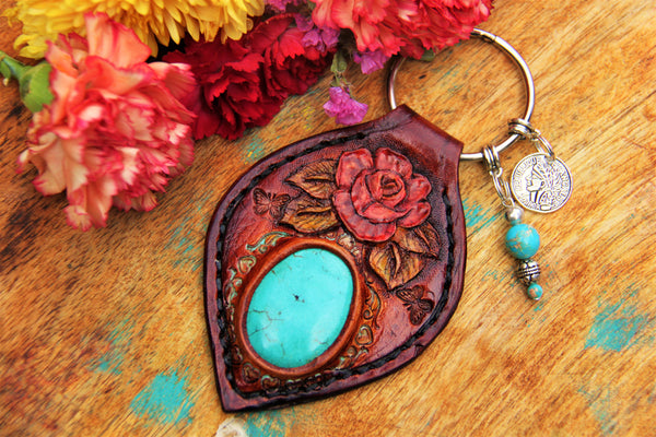 Bohemian Rose -Personalized Key Ring *ORDER*