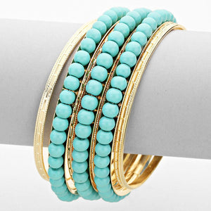 Layered Turquoise Pearl Metal Bangle Bracelet Set - Bedazzled By Jeanelle - 1