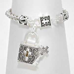 Filigree Cross Key and Locket Bracelet